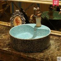 Керамика антикварные настольные раковины арт Круглый Тип Европа туалет Lavabo водосброса отверстие