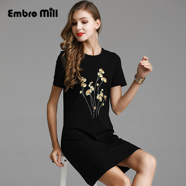 High-end Chinese style floral summer women folk-custom Catwalk dress embroidery dresses elegant Slim Ladies fashion dress S-XXL