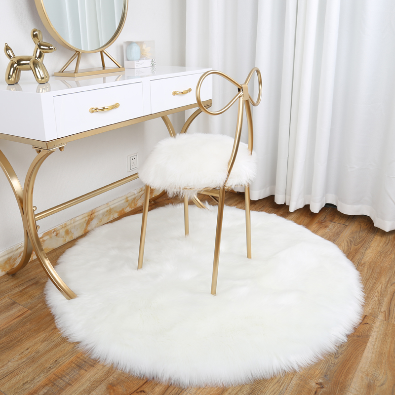 New Fashion Plush Round Carpet Computer Chair Dressing Table Fur Round Carpet Imitation Wool Hanging Basket Bedroom Rug  DT-58