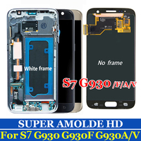 original AMOLED For Samsung Galaxy S7 G930F G930A G930 LCD Display Touch Screen Digitizer Assembly Replacement SM G930F