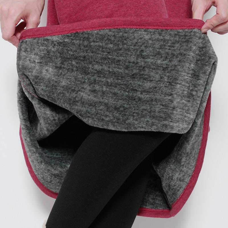 2018 women woolen Inside velvet warm plus size empire solid Skirts High quality skirt