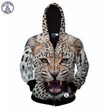 2017 Mr.1991INC Hot sell Men's zipper jacket print ferocious leopard hoody 3d sweatshirt with hat hooded hoodies autumn tops clo