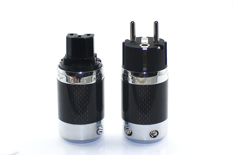 цена на YYAUDIO good ues carbon fiber rhodium plated EU power plug and IEC plug