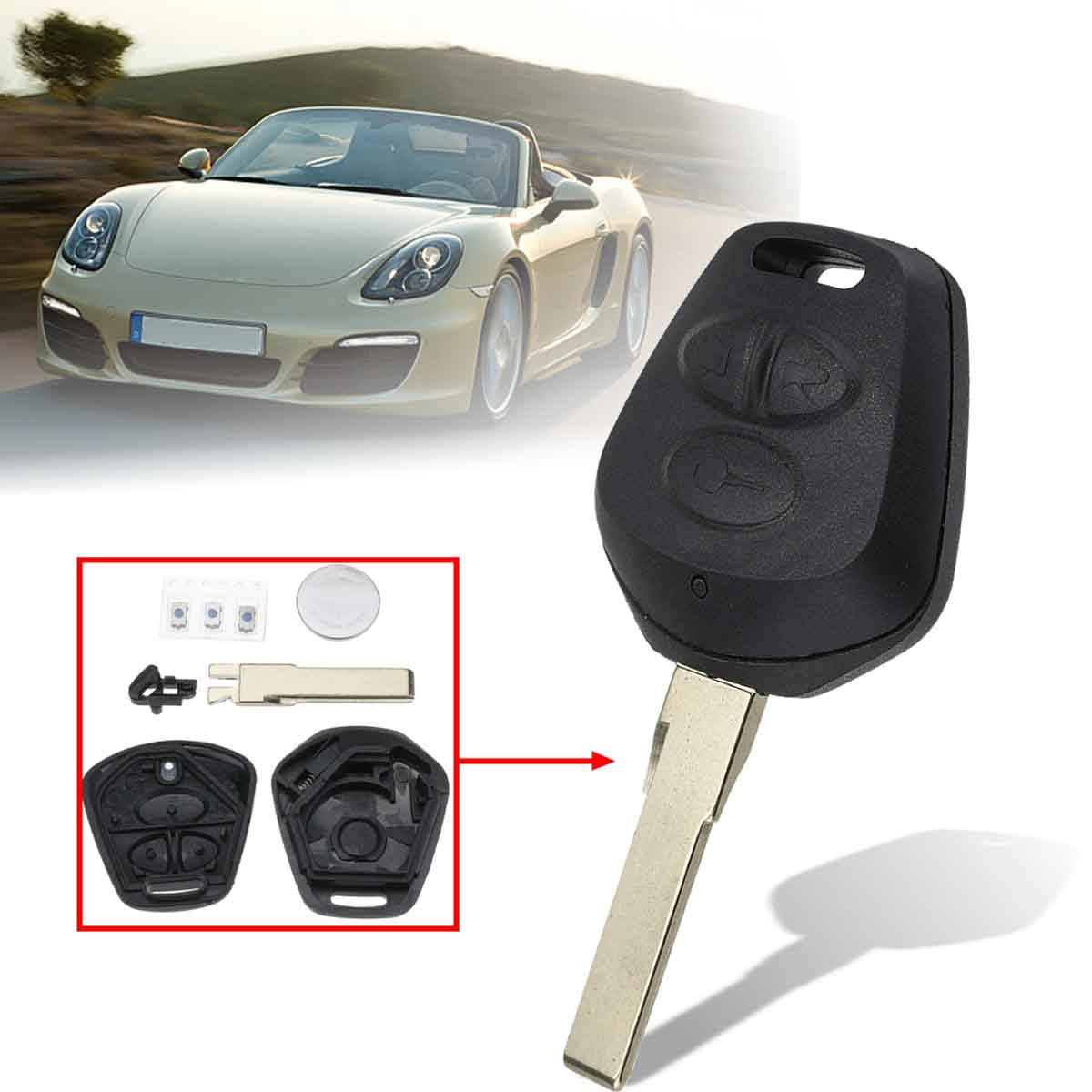 3 Buttons Remote Key Fob Case With Key Blank For Porsche Boxster S 911 996 Cayen