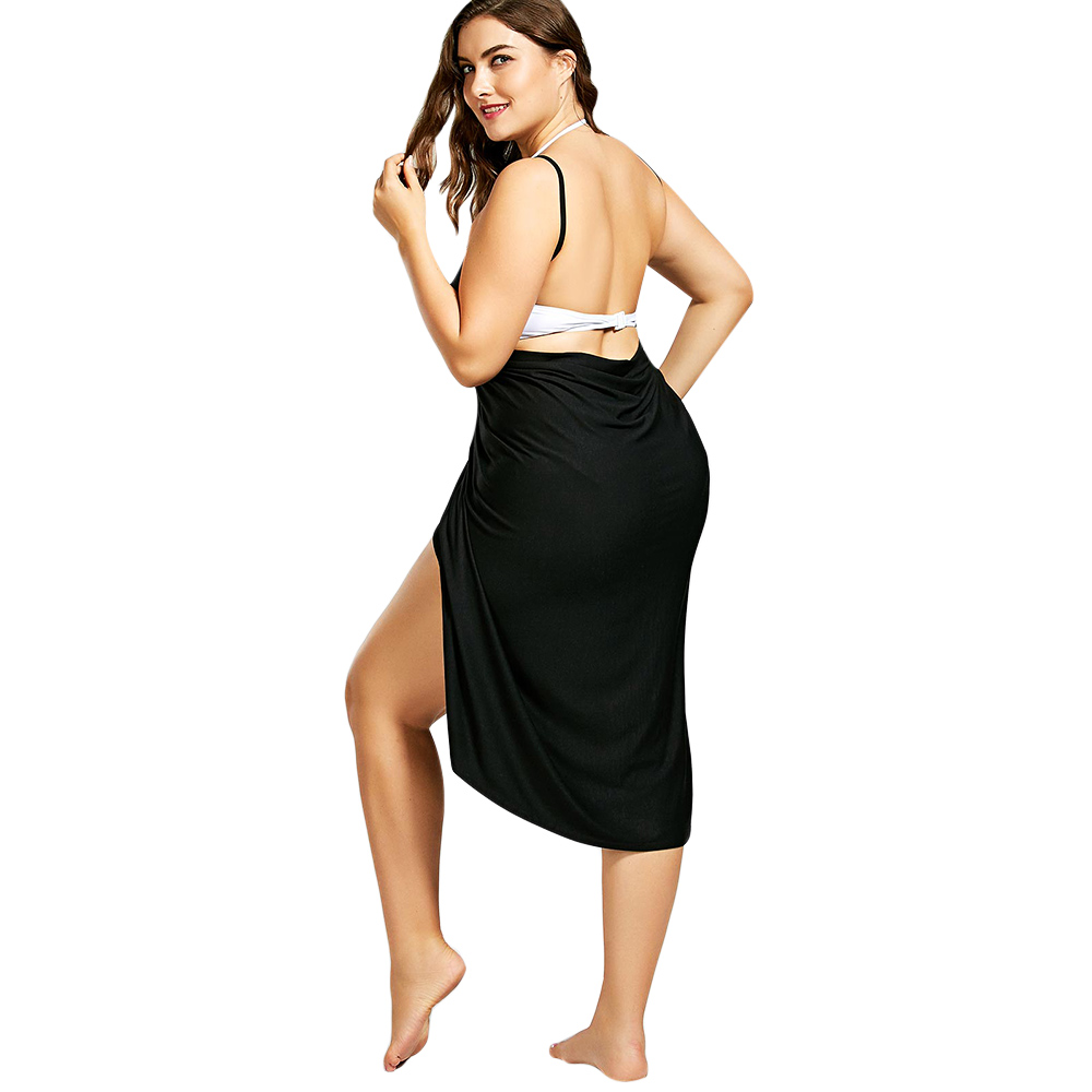 cbbfe4f6e4 ... Rosegal Plus Size Beach Cover Up Wrap Dress Bikini Swimsuit Bathing  Suit Cover Ups Robe De ...
