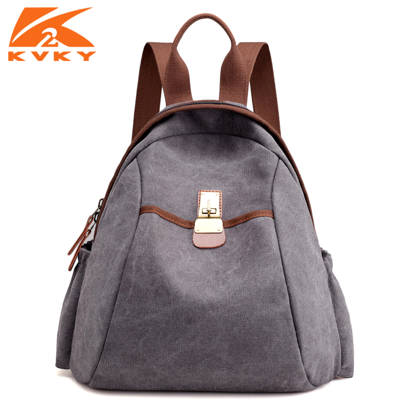 KVKY Vintage Canvas Backpack Women Men Leisure Travel Bag School Student Daypack Ladies Bagpack Bags for Girls Boys Teenagers pretty style pure color canvas women backpack college student school book bag leisure backpack travel bag