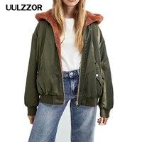 UULZZOR woman Jacket coat winter hooded jackets Thick zipper coat lambswool Jackets Ladies Outerwear Coat Warm Parka Female 2019
