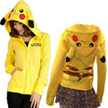 Hot Sale Japan Anime Pikachu Costume Women Cosplay Cute Pikachu Hoody Clothes Pikachu Zip-Up Hoodies Costume For Party Wear