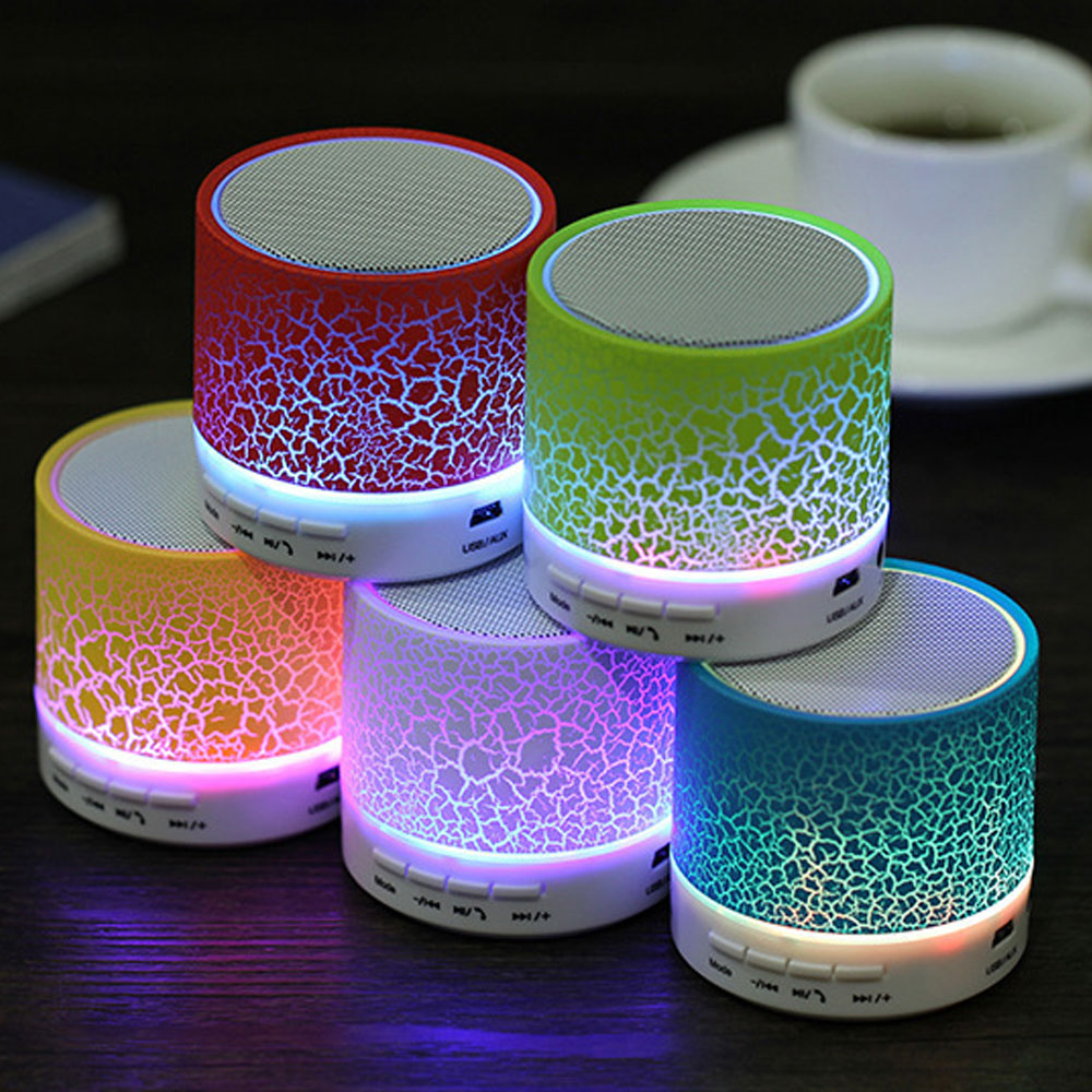 Vapeonly A9 Mini Wireless Bluetooth Speaker Portable Subwoofer Stereo Music Player with TF Slot USB LED Light Crack Loudspeakers