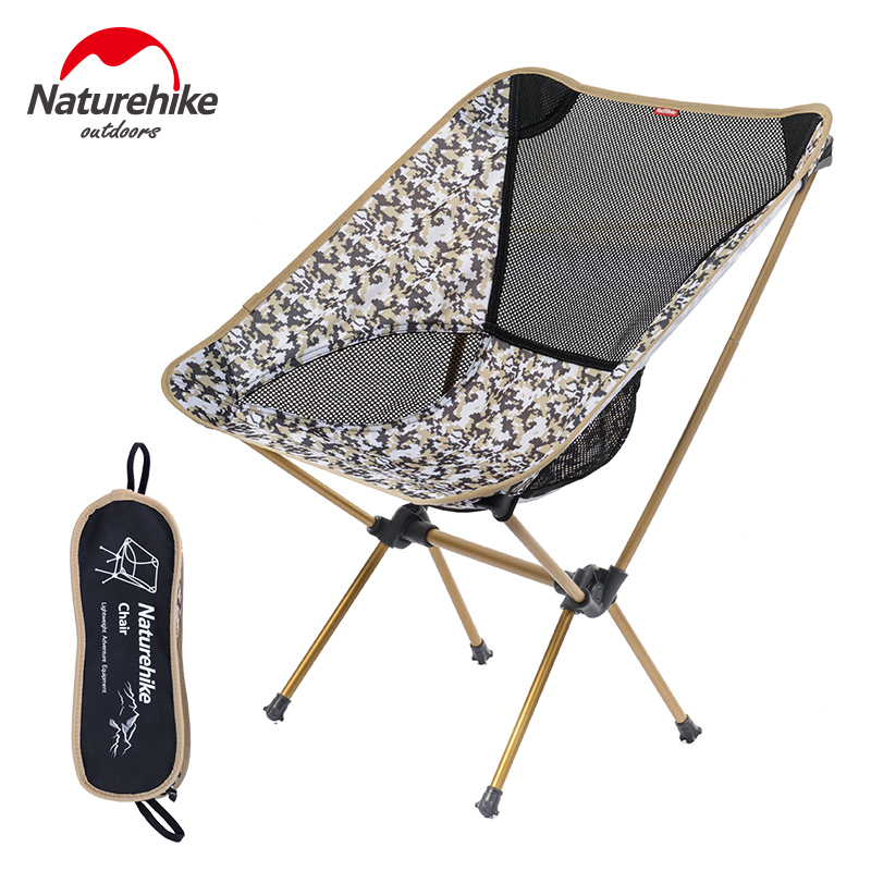 Naturehike Outdoor Foldable Chair For Picnic BBQ Beach 4 Colors 7075 Aluminium Alloy Portable Folding Camping Fishing Chair 800g naturehike portable fishing chair foldable 2 colors steel folding hiking picnic barbecue beach vocation camping chairs
