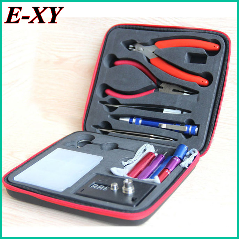 E-XY Magic stick CW tool coil vape Complete kit E-cig master 6 IN 1 DIY jig vape tool kit PE Box ecig rda tool kit atomizer coil 30pcs ecig ce4 battey n vape e cases