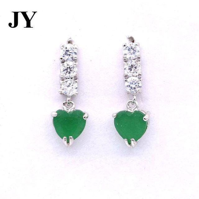 Jy White Zircon Earrrings Green Stone Earrings For Women Heart Shape Best Gift