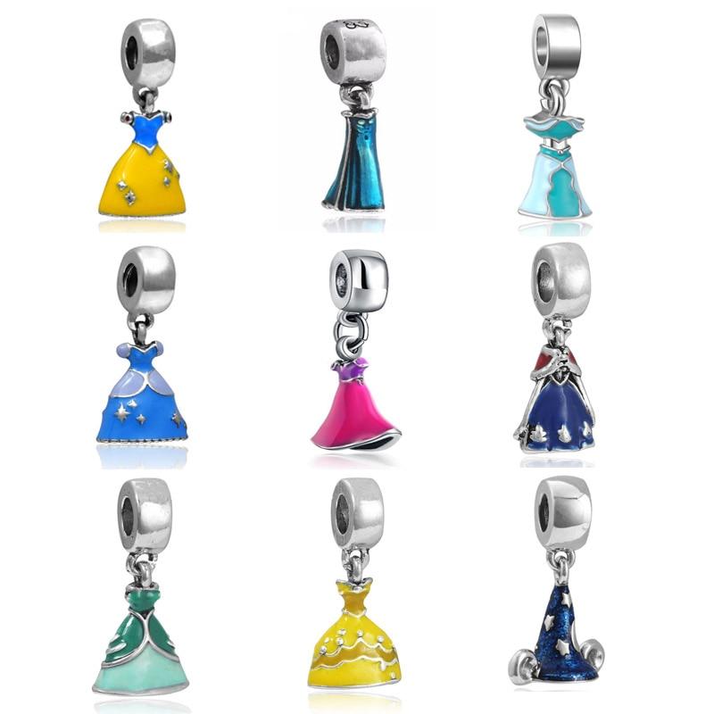 Promotion Enamel Princess Dress Beads Silver Plated Big Hole Charm Pendant Fit Pandora Original Bracelet Jewelry Accessories