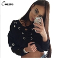 Fashion Autumn Sweatershirt Women Cross Lace Up Collar harajuku Super Pullover Top Long Sleeve With Holes truien dames QA1436