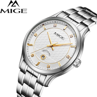 2018 Top Brand Mige Business Couples Watches Steel Case White Face Japan Movement Lover Watch Waterproof Men Quartz Wristwatch