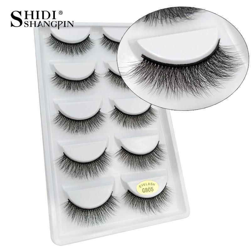 SHIDISHANGPIN 3d Mink Lashes False Eyelash 5 Pairs Eyelashes Natural Long Eyelash Extension 3d Mink Makeup False Eyelashes G805