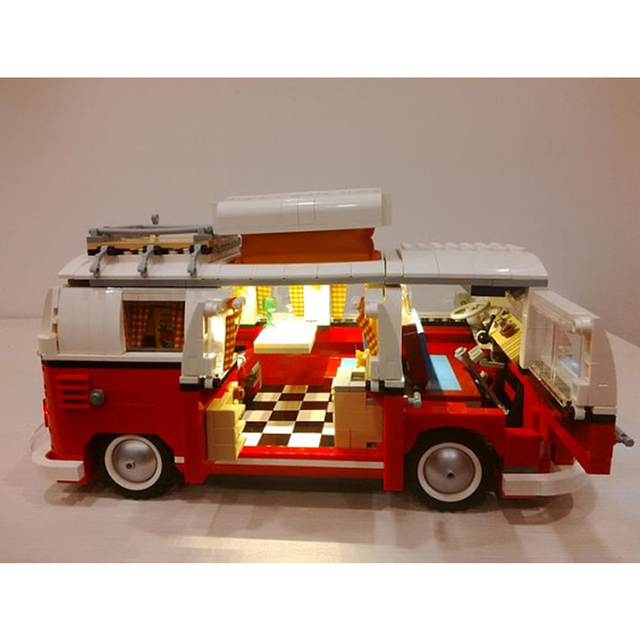 Diy led luz kit para lego 10220 y lepin 21001 creador de la serie de la t1 camper van juguetes de los ladrillos bloques