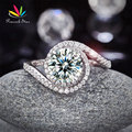 Pavo real Estrella Torcedura Curl 925 Bodas De Plata De ley Anillo de Compromiso 2 Ct Creado Diamante Aniversario Promesa CFR8261