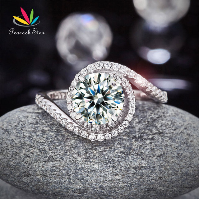 Peacock Star Twist Curl 925 Sterling Silver Wedding Engagement Ring 2 Ct Created Diamond Promise Anniversary CFR8261
