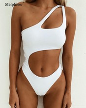 Irregular Cut One-piece Swimsuit Women Push Up Bathing Suit Swimwear 2018 Beach Solid Backless Monokini Bodysuit Swimming Suits цена