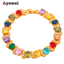 Beautiful  Gold color Bracelets Color Crystal Design AAA Zircon Health Nickel & Lead free Fashion jewelry TB395A