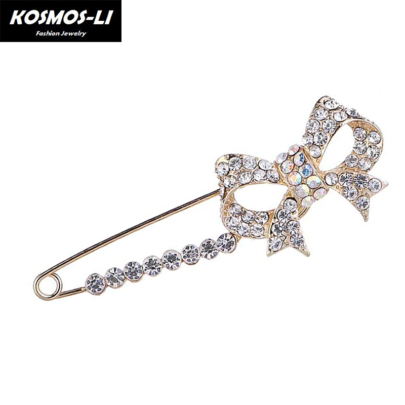 Gold Color Rhinestone Bow Brooches For Women Large Bowknot