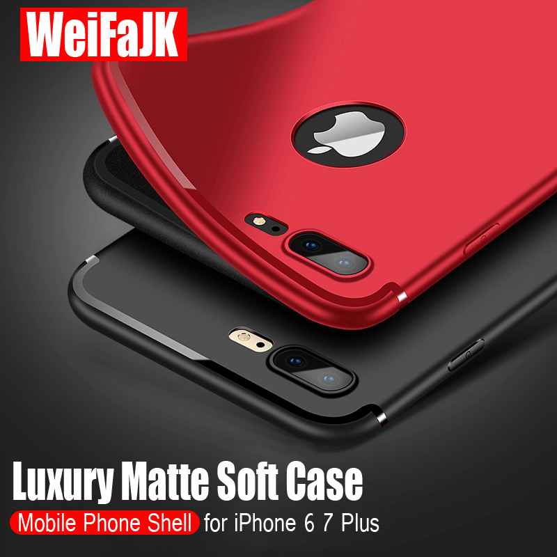 WeiFaJK Luxury Matte Back Silicone Case For iPhone 5s 6 6s For iPhone 7 Cases Soft TPU Full Cover For iPhone 6 6s 7 Plus X Case