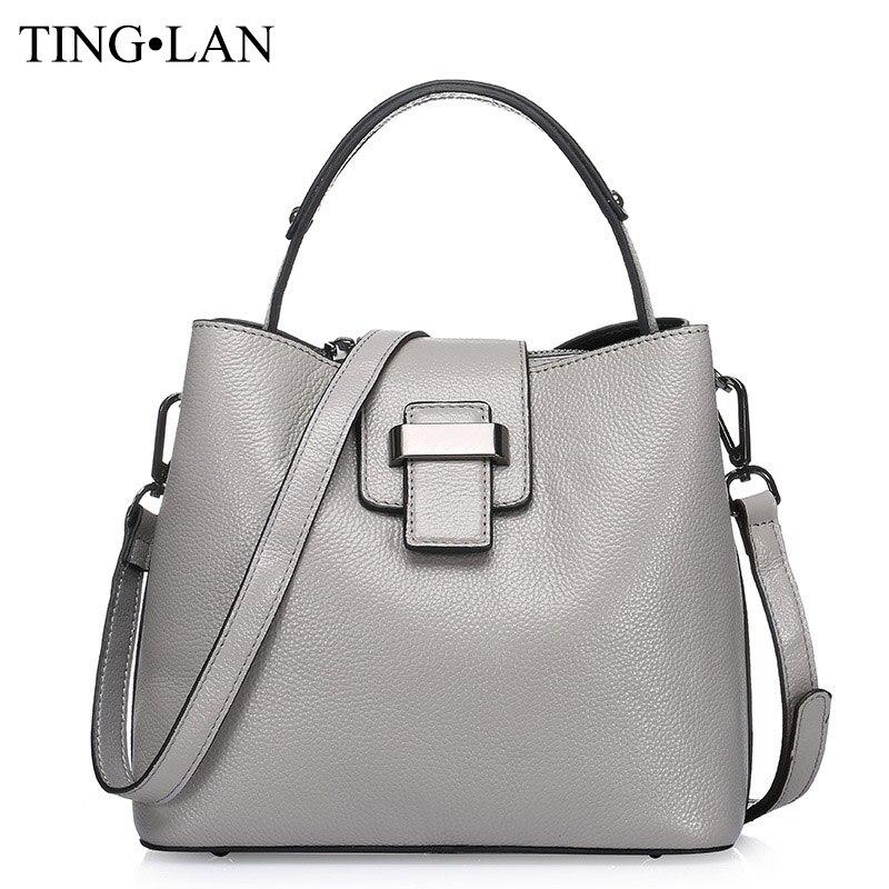 Luxury Designer Handbags Women Bucket Messenger Bag Genuine Leather Ladies Shoulder Crossbody Bags Brand Casual Tote Bag Female