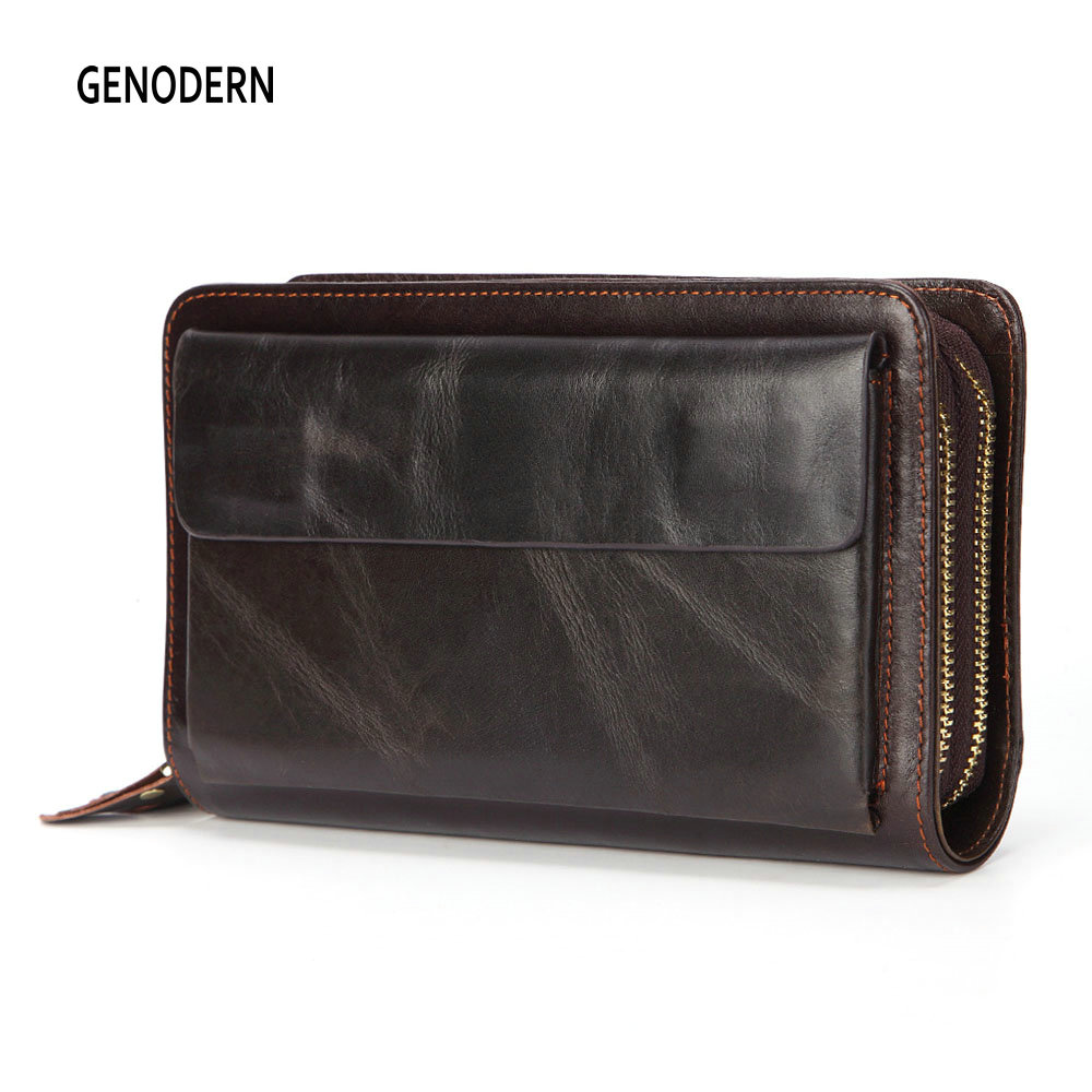 GENODERN Genuine Leather Men Clutch Wallets Cowhide Long Purses Business Large Capacity Wallet Double Zipper Phone Bag For Male