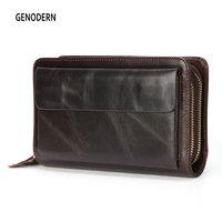 GENODERN Genuine Leather Men Clutch Wallets Cowhide Long Purses Business Large Capacity Wallet Double Zipper Phone Bag For Male
