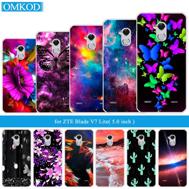 for ZTE Blade BA2 V7 Lite 5.0 inch Butterfly Back Cover Transparent Silicone Phone Case for ZTE BA2 for ZTE V7Lite Slim Coque