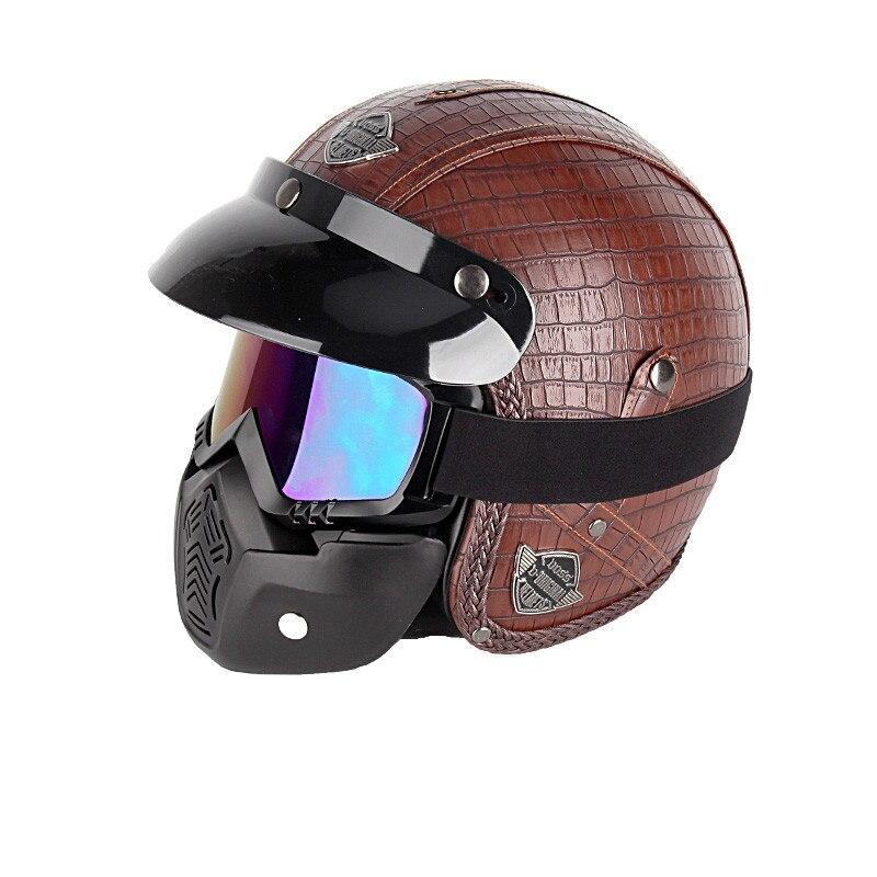 PU cuir pour Harley casques 3/4 moto Chopper casque de vélo visage ouvert vintage casque de moto avec masque de lunettes