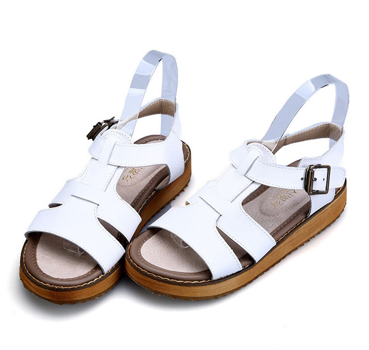 2017 summer casual students shoes strap ladies women platform peep-toe natural leather sandals comfortable Gladiator Beach