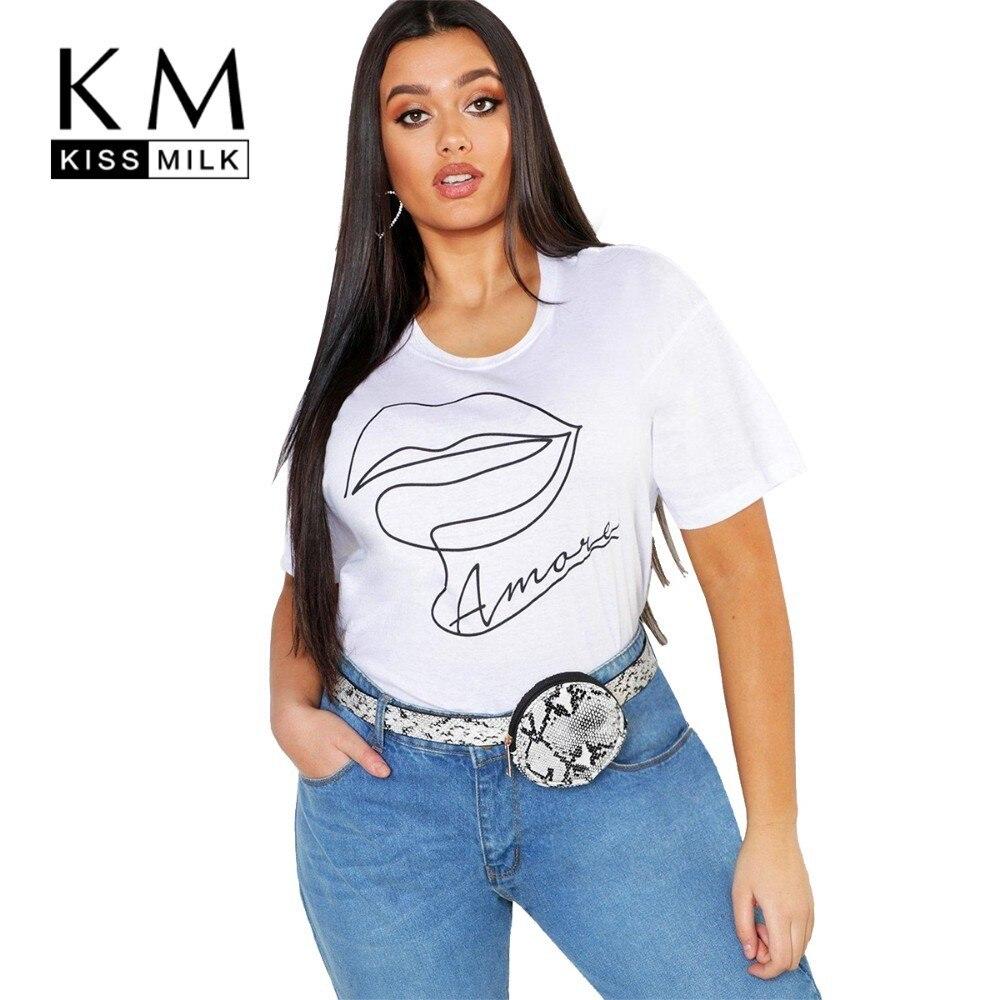 Kissmilk Plus Size Women Clothes Simple Lip Letter Printing Solid Color Round Neck Loose T-shirt