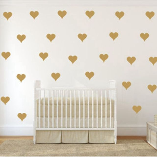 Free Shipping Metallic Gold Wall Stickers Heart Shaped Pattern Vinyl Wall  Decals Nursery Art Decor