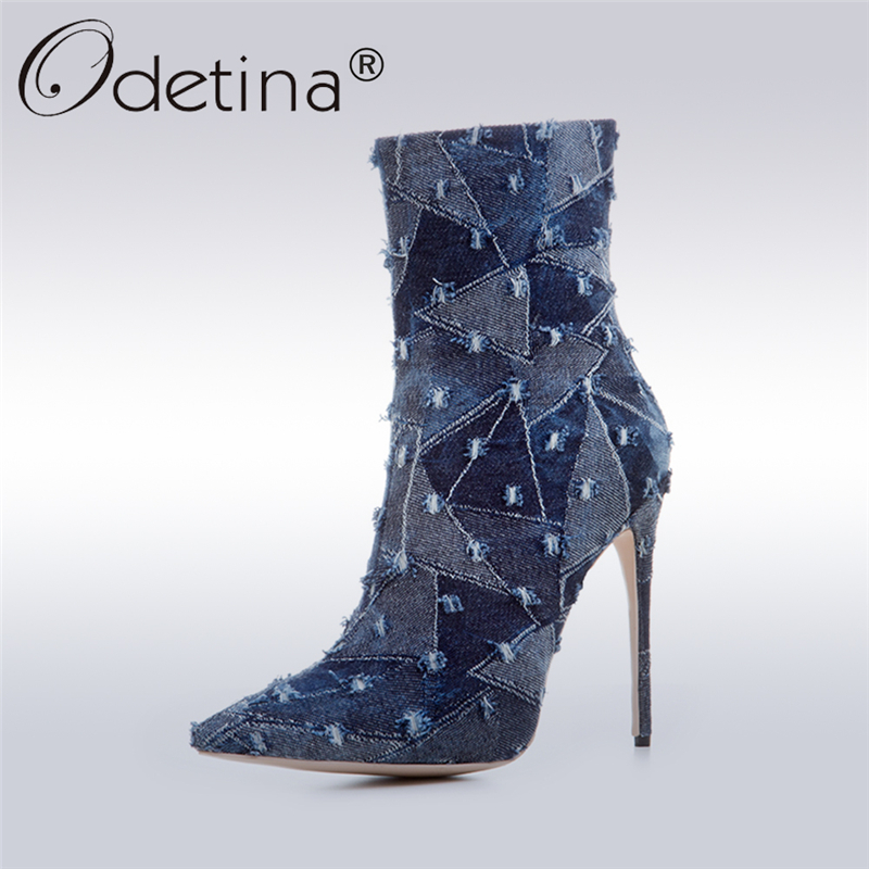 Odetina 2017 New Designer High Heel Ankle Boots For Women Pointed Toe Booties Blue Ladies Denim Boots Fashion Shoes Big Size 43 designer luxury designer shoes women round toe high brand booties lace up platform ankle boots high quality espadrilles boot