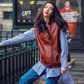 2016 Europe Designer Women Streetwear Fashions Vintage Green Red Leather Vests Jacket Coat Stylish Cool Waistcoat Chalecos Mujer