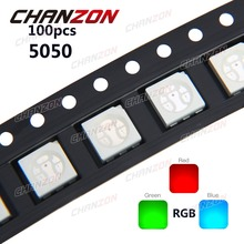 100pcs SMD 5050 RGB Chip LED PLCC-6 smd5050 LED Tricolor 60mA DC 2V Red Green Blue LED Light Emitting Diode Lamp PCB SMT Beads