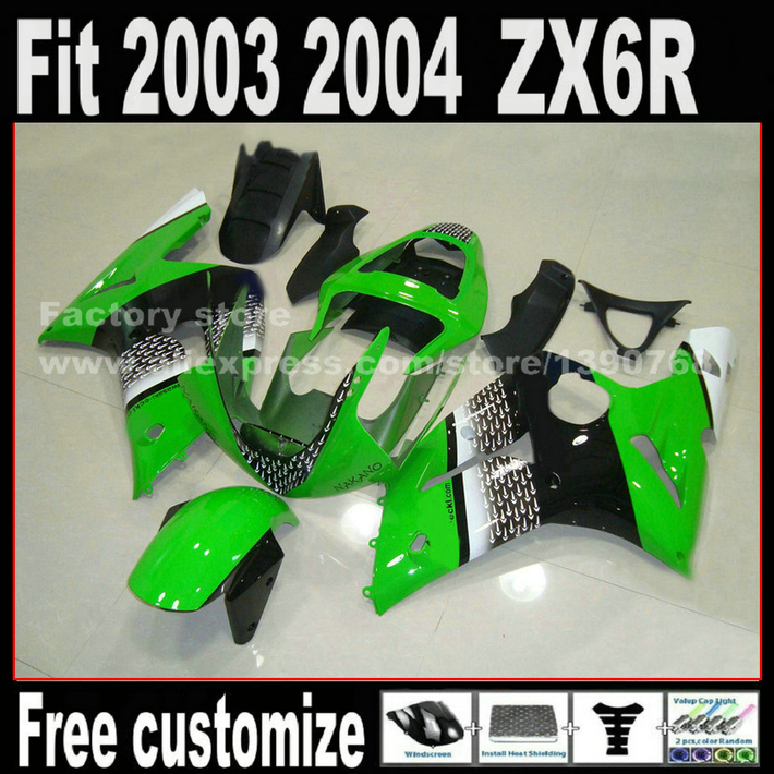 Lowest price professional road racing fairing kit for 2003 2004 Kawasaki ZX6R Ninja 636 green black 03 04  ZX 6R Fairings set promotion lowest price high performance 12v electric fuel pump for jaguar color for head red black green