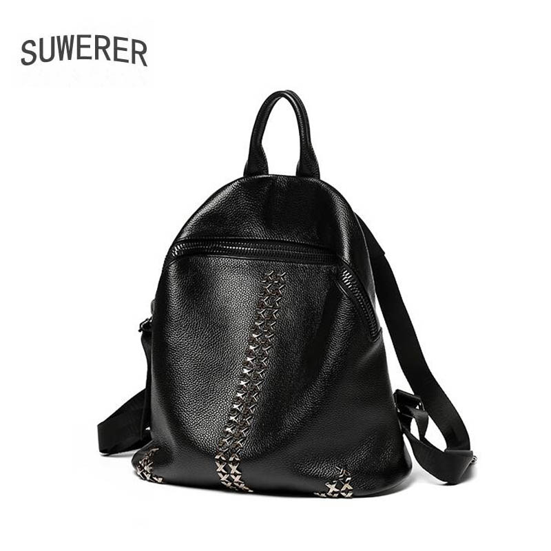 Women Genuine Leather bag  2019 new rivet bag female leather backpack female leather backpack college wind travel bag big bagWomen Genuine Leather bag  2019 new rivet bag female leather backpack female leather backpack college wind travel bag big bag