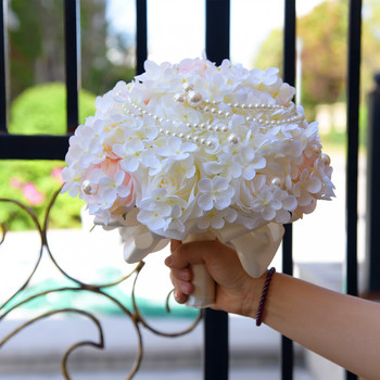 1PC Simulation Flowers Bouquet For Wedding Groom Bride Artificial White Pearl Holding Flower Decoration Photography Props