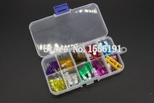 лучшая цена 100PCS 3~40A Medium Size Auto fuse, 10pcs for each specification,  The fuse Insurance insert Lights Fuse with box and clip