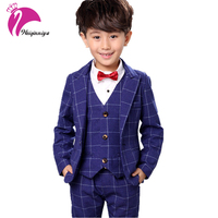 Boys Formal Plaid Suit Wedding Clothes Fashion Children Party Clothing Sets Spring Autumn Baby Classic Gift