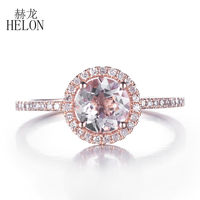 HELON Natural Morganite Promise Ring Solitaire Gemstone Solid 14K Rose Gold Natural Diamonds Engagement Wedding Anniversary Gift