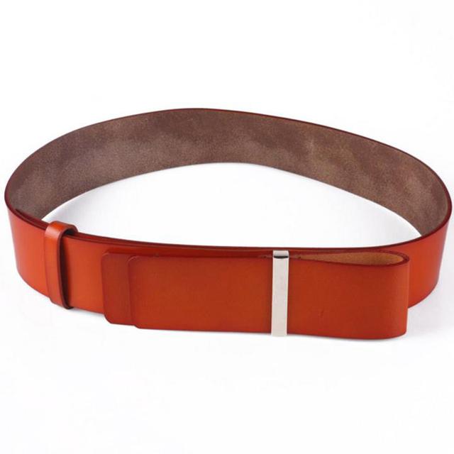 Correa femenina de Ancho Cinturón de Cuero de Capa de Cuero de Color Sólido de Las Mujeres DE Manera Simple Salvaje Cinturón Grueso de Piel Con Piel de La Cintura decoración