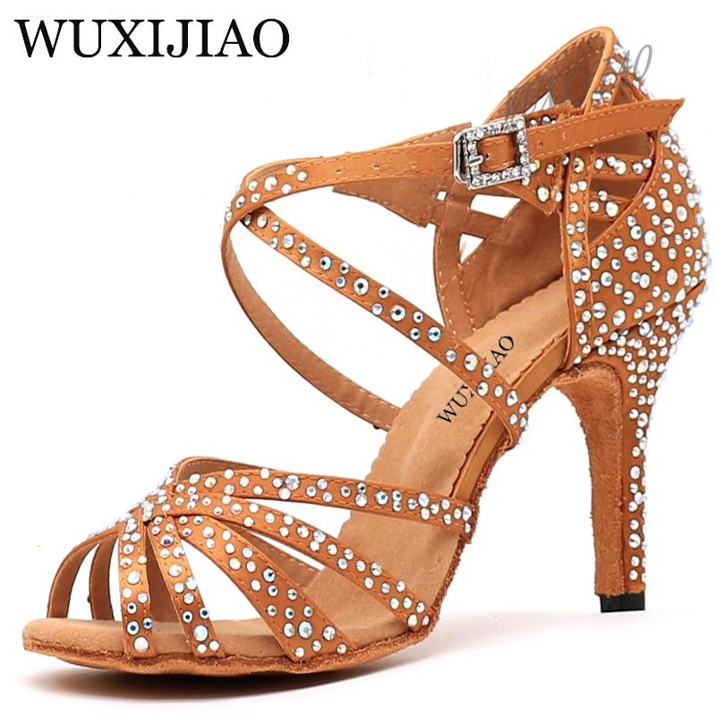 WUXIJIAO Women Party Dance Shoes  Satin Shining rhinestones Soft Bottom Latin Dance Shoes Woman Salsa Dance Shoes heel5CM-10CM 2