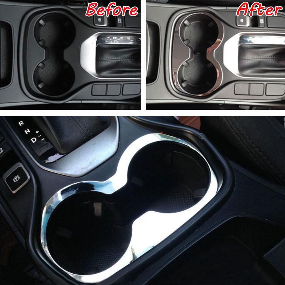 Car Interior ABS Water Cup Holder Frame Panel Cover Trim For Hyundai Santa Fe IX45 2014 2015 2016 Car Styling Accessories Covers accessories fit for 2013 2014 2015 2016 hyundai grand santa fe side door line garnish body molding trim cover