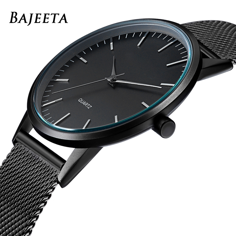 BAJEETA Super-Thin Steel Mesh Women Watch Top Brand Luxury Leather Quartz Men Wristwatch Fashion Sport Simple Watches Dropship