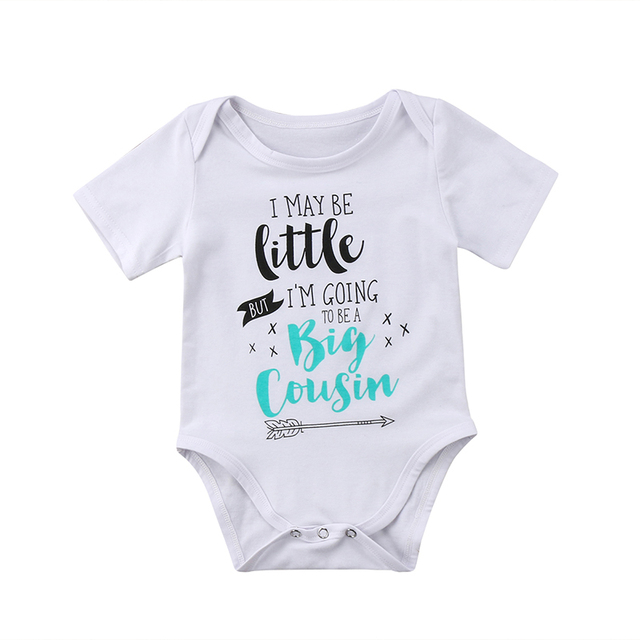 dbf049841d5d Big Cousin Newborn Baby Boy Girl Short Sleeve Letter Print Cotton Romper  Jumpsuit Outfits Casual Baby Clothes 0-18M