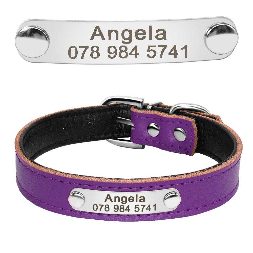 Collar de perro de cuero con relleno interior personalizado con placa de identificación grabada 15